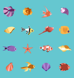 seahells and fish in isolated on blue vector image vector image