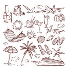 summer time theme in hand drawn style vector image
