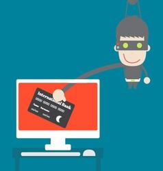 Thief credit card data from desktop cartoon vector image