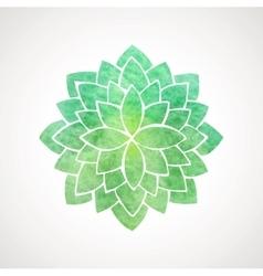 Watercolor lotus flower green color vector image vector image