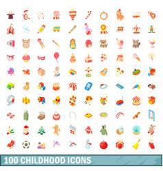 100 childhood icons set cartoon style vector image