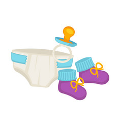 baby diapers knitted booties and small pacifier vector image
