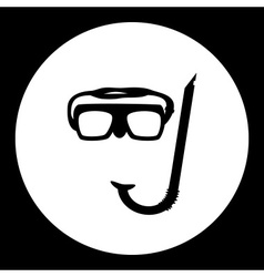 diving goggles and snorkel black simple icon eps10 vector image vector image