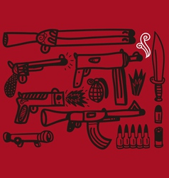 firearms set vector image vector image
