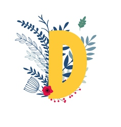 Floral alphabet letter d vector
