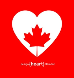 Heart with Canadian maple Leaf vector image