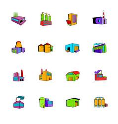 industrial factory building set icons set cartoon vector image