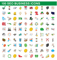 100 seo business icons set cartoon style vector image