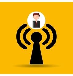 Cartoon man connected wifi vector