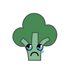 Kawaii cute crying broccoli vegetable vector