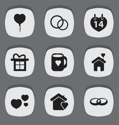 set of 9 editable heart icons includes symbols vector image vector image