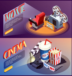 3d cinema banners collection vector image vector image