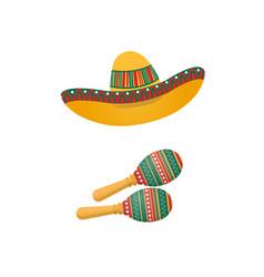an of sombrero and maracas mexican traditional vector image vector image