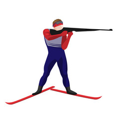 biathlonist with small-bore rifle standing on skis vector image vector image
