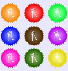 Champagne glass icon sign big set of colorful vector