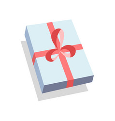 flat blue gift box present with red bow icon vector image vector image