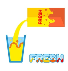 Fresh juice Pour in a glass of fresh juice from vector image