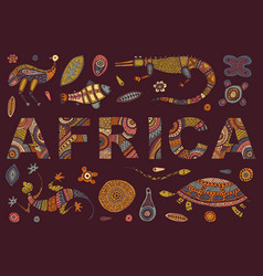 inscription of africa in ethnic style and vector image vector image