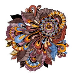 zentangle floral ornament tattoo flower template vector image