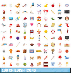 100 childish icons set cartoon style vector