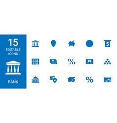 15 bank icons vector