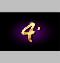 4 four number numeral digit golden 3d logo icon vector image