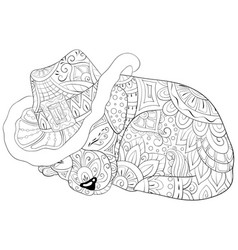 adult coloring bookpage a cute sleeping dog with vector image
