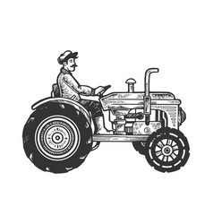 agricultural tractor engraving vector image