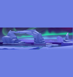 Arctic aurora borealis at north pole landscape vector
