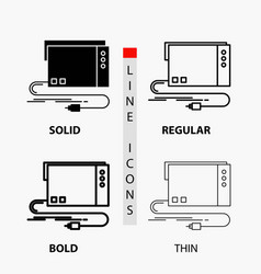 Audio card external interface sound icon in thin vector