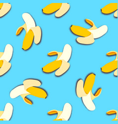 banana seamless pattern in paper cut style vector image