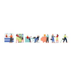 Bank people icon set flat isolated vector
