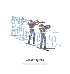biathlon race winter seasonal sport participants vector image