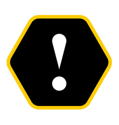 Black hexagon exclamation mark icon warning sign vector