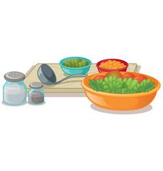 bowls of vegetables and seasonings vector image