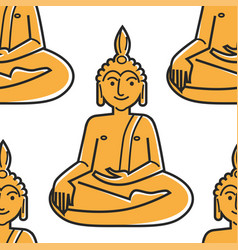Buddha gold statue seamless pattern thailand vector