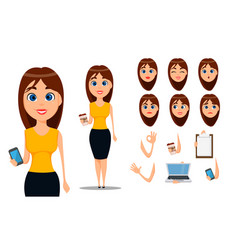 business woman cartoon character creation set vector image