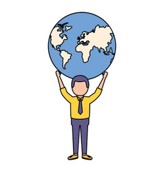 businessman holding world on hands vector image