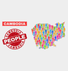 Cambodia map population people and unclean stamp vector