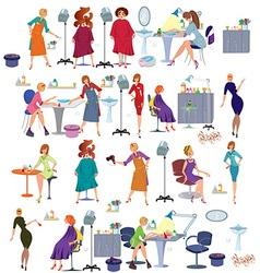 Cartoon hair salon people set vector