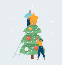 christmas concept people decorated tree vector image