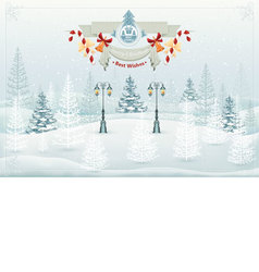 Christmas winter forest landscape vector image