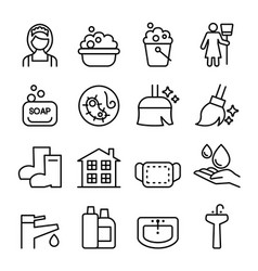 Cleaning housekeeping wipe washing icon set vector