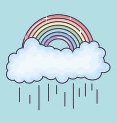Clouds rainy sky with rainbow weather vector
