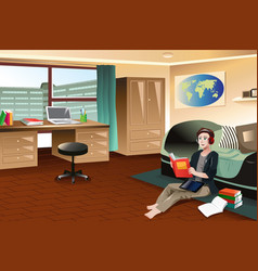 College student studying in dorm vector