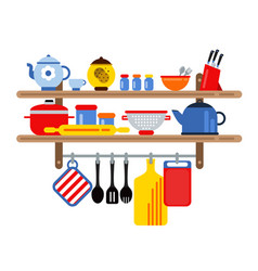 Cooking and restaurant equipment on kitchen vector