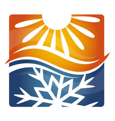 Cooling and heating sun and snowflake symbol vector