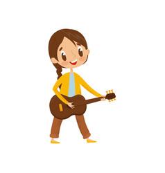 Cute girl playing guitar little musician vector