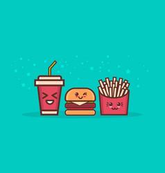 Cute hamburger potato free and soda fast food set vector