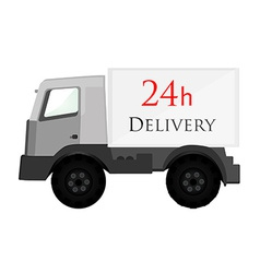 Delivery car grey with text 24h delivery vector image